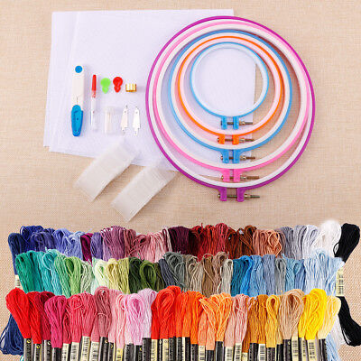 Lots Cotton Cross Floss Stitch Thread Embroidery Sewing Skeins Frame Needle Kit