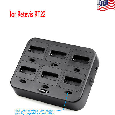 2x Six-way dedicated Rapid Charger RTC22 for Retevis RT22 Walkie-Talkie US