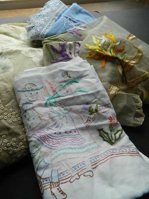 Bundle 6 antique linen items coloured embroidery - patchwork repair projects