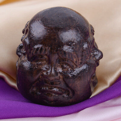 Hand Carved Wood Tibetan Buddhism 4 Expression Faces Buddha Head Statues