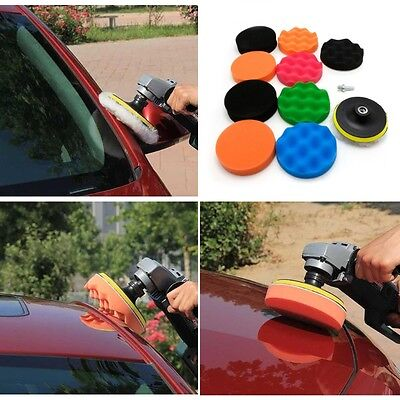 "5x 3/4/5/6/7"" Sponge Polishing Waxing Buffing Pads Kit Set Compound For Auto Car"