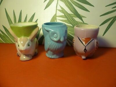 Vintage Animal Egg Cups Rabbit , Owl and Elephant