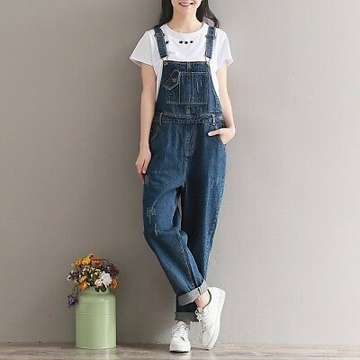 Women Ripped Denim Jeans BIB Pants Overalls Straps Jumpsuit Rompers Trousers New