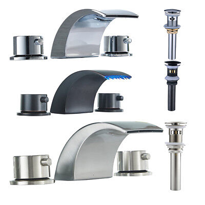 Led Waterfall Widespread Bathroom Sink Faucet Basin Two Handles