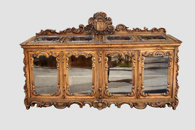 French antique furniture: walnut castle display case