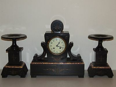 Antique Working 19th C. French Victorian 3 Pc. Black Marble Mantel Clock Set