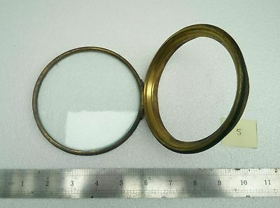 Antique Brass Glass Bezel Hinged Cover Clock Part 4 1/4""