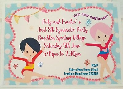 Cute Gymnastic Themed Party Invitations, Personalised, Sports, Pack Of 10
