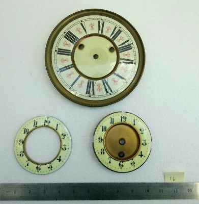 3 No. Vintage French Clock Face Dials Brass Parts