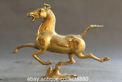 """8.3"""" Marked Chinese Feng Shui Bronze Animal Horse Tread Fly Swallow Lucky Statue"""