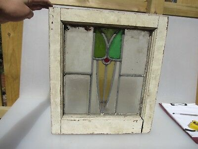 Vintage Stained Glass Window Panel Architectural Antique Old Art Nouveau Wooden