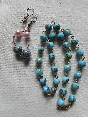 Vintage blue murano glass chained necklace and earrings,16""