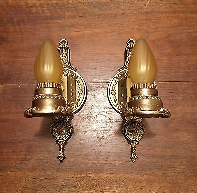 Antique Wired Matched Pair Wall Sconce Fixtures Deco LightLighting Antiques 10D