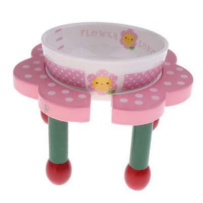 Dog and Cat Personalised Ceramic Pet Bowls with Pink Wooden Stand Support