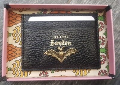 1c8edaed76a799 GUCCI Garden Florence Italy BLK Moth Card Holder