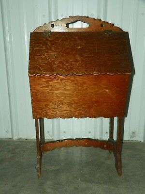 Vintage Art Deco Wood Wooden Standing Sewing Box Table Chest Cabinet HANDMADE?