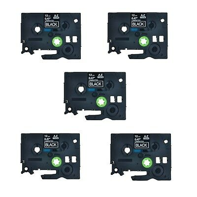 """5PK TZe TZ 335 White On Black Label Tape For Brother P-Touch PT-2410 1/2"""" 12mm"""