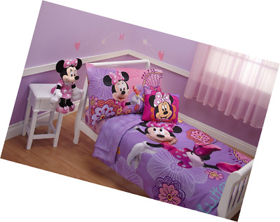 4 Piece Minnie Mouse Disney Bedding Set Girls Toddler Comforter