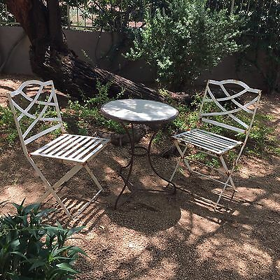 Antique Folding French Bistro Chairs Heavy Iron Garden Chairs Set Of 2 - ANTIQUE FOLDING FRENCH Bistro Chairs Heavy Iron Garden Chairs Set Of