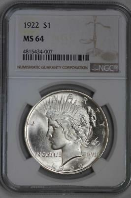 1922 Silver Peace Dollar MS64 NGC US Mint $1 Coin