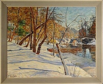 Superb ca.1981 Pennsylvania in Snow Oil Painting on Canvas Board w/Frame Signed