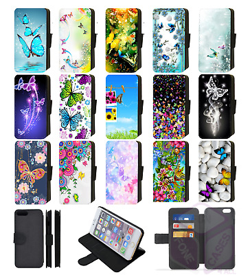 BUTTERFLY Wallet Flip Phone Case Cover Galaxy S5 S6 S7 Edge S8 compatible