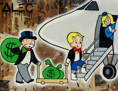 """Alec Monopoly Oil Painting on Canvas graffiti art home decor Airplane 28x40"""""""