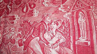 """French antique hand quilted """"Toile Jouy"""" religious scene young couple baby 1800"""
