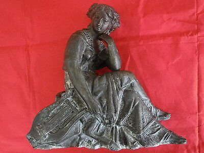 Antique/Vintage Hollow Cast Spelter Figure of Lady with Lyre