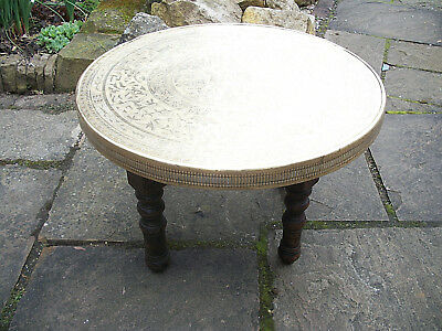 Antique Anglo/indian  Folding Side Table With Brass Covered Top