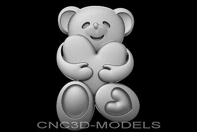 3D Model STL for CNC Router Engraver Carving Artcam Aspire Bear Heart g934