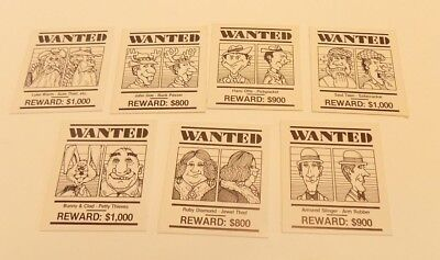 Vintage Parker Brothers Stop Thief Game 7 Piece Parts Wanted Poster Card Lot