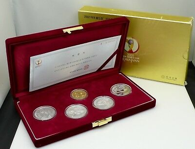 "2002 Korea PR Coin Set ""Fifa World Cup Korea Japan"" 1½oz Gold & 4 1oz Silver Cn"