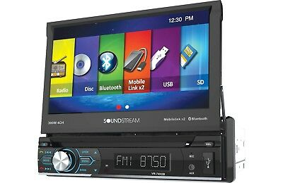 "Soundstream VR-74H2B 1 DIN CD/DVD Player 7"" Bluetooth Android MobileLink 8.2"
