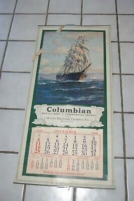 1938 Columbian Rope Masted Ship Phineas Pendleton Calendar Patterson Monroe NC