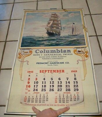 1945 Columbian Rope Adv Ship Henry B Hyde Calendar Patterson Danville Virginia