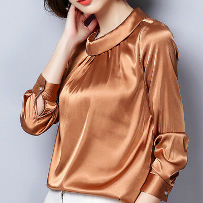 Women Satin Silky Shirt Vintage Pleated Long Sleeve Shiny Blouse Pullover Tops