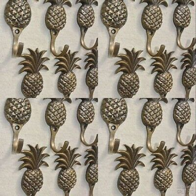 """24 small PINEAPPLE BRASS HOOK COAT WALL MOUNT HANG TROPICAL old style hook 4"""" B"""