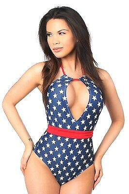 03dba08b0a132 Sexy Patriotic Stars One Piece Pucker Back Swimsuit with Removable Belt