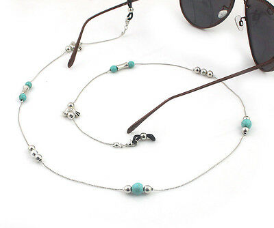 Silver Beaded Eyeglass Cord Reading Glasses Eyewear Spectacles Chain Holder