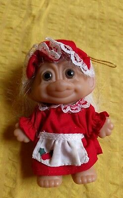 Russ Vintage Troll Doll Christmas Ornament Mrs Claus 1980s White Hair