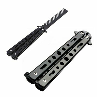 Metal Practice Balisong Butterfly Comb Knifes Trainer Cool Sports Dull Tool CU