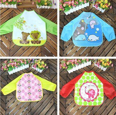 Baby Long Sleeve Bibs Apron Waterproof Art Smock Feeding Toddler Children CU