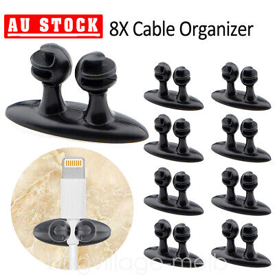 8XSmart Phone Cable Clips Wire Holder Cord Runs Charger Earphone Cable Organizer