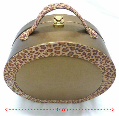 -Hat-Wig-Box-Travel-Case-Carry-On-Luggage-Bag with key gold & leopard print