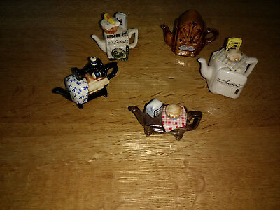 Collection of 5 Cardew Tiny Teapots Ornaments