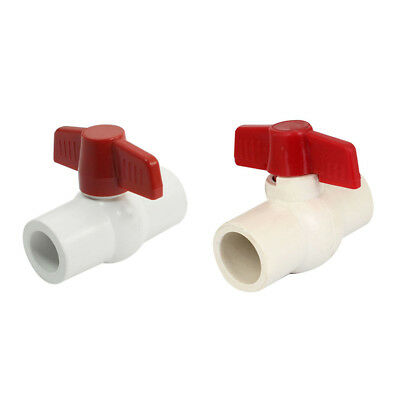 Red Handle Double Ports White PVC Pipe Connect Ball Valve I1B4