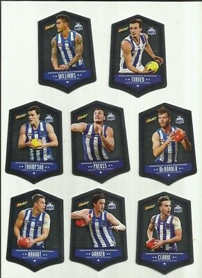 2018 afl select FOOTY STARS DIECUT NORTH MELBOURNE TEAM SET 8 CARDS DIECUTS