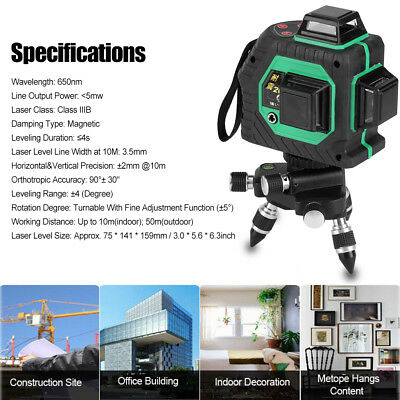 360° Rotary Laser Level 12 Cross Green Lines Self-Leveling Measure Tool Set