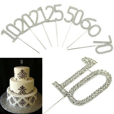 Cake Pick Topper Numbers Age Birthday party Anniversary Silver Sparkle 12cm new